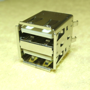 "USB A-TYPE Double deck  Vertical White housing  30μ"" RoHS"