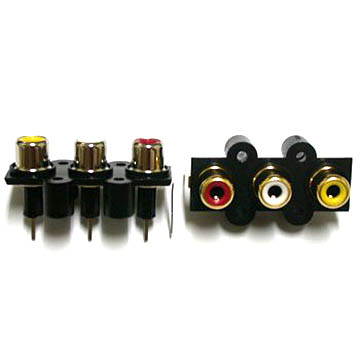 RCA JACK 3PORT 4PIN VERTIVAL 4 LOCK HOLD