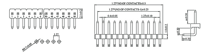 1.27mm Pin Header H:1.0 W:2.1 Single Row Down Angle DIP Type